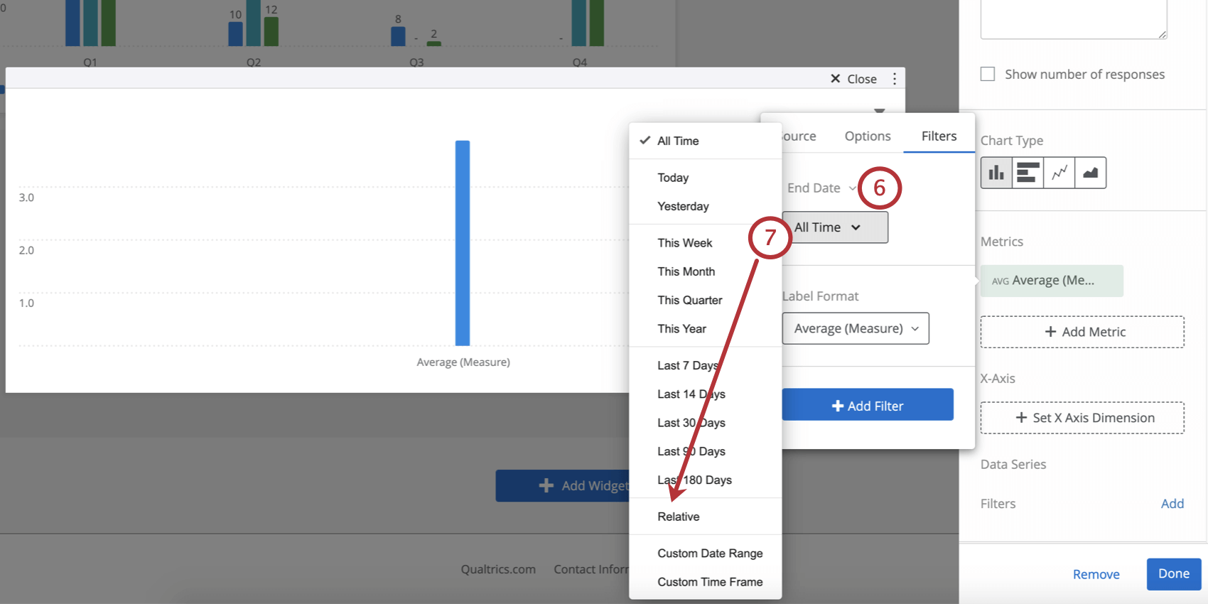 Selecting a date filter in the little dialogue box and selecting relative from the All Time dropdown box