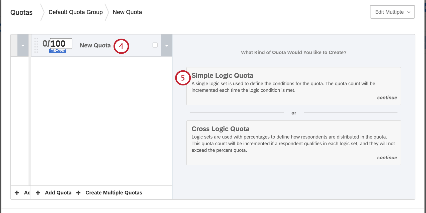 Naming the quota on the left and choosing between simple or cross-logic quota on the right