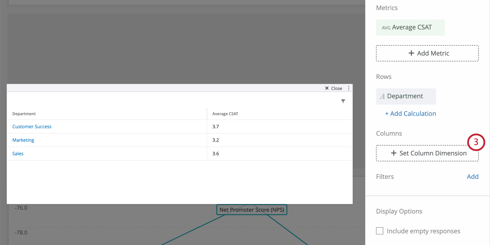 Simple table now also has a row added, so we see separate CSATs for different departments, such as marketing, customer success, and sales. These are rows of the table