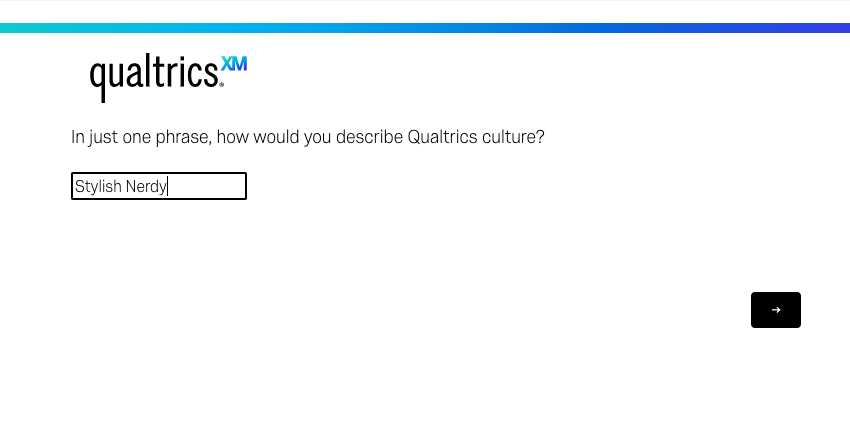 Text Entry question in preview with the phrase Stylish Nerdy entered