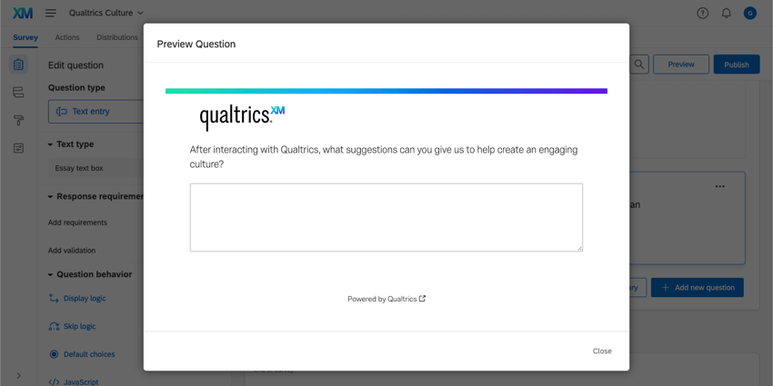 The preview window of the essay text box question