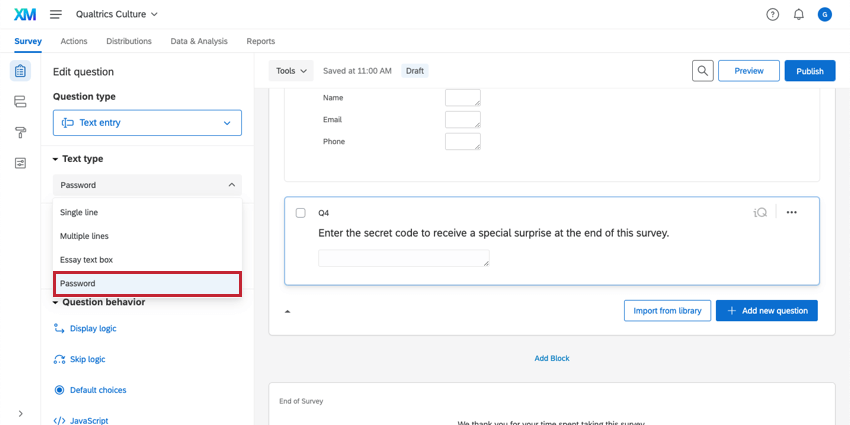 Password is selected as the Text entry question Text type