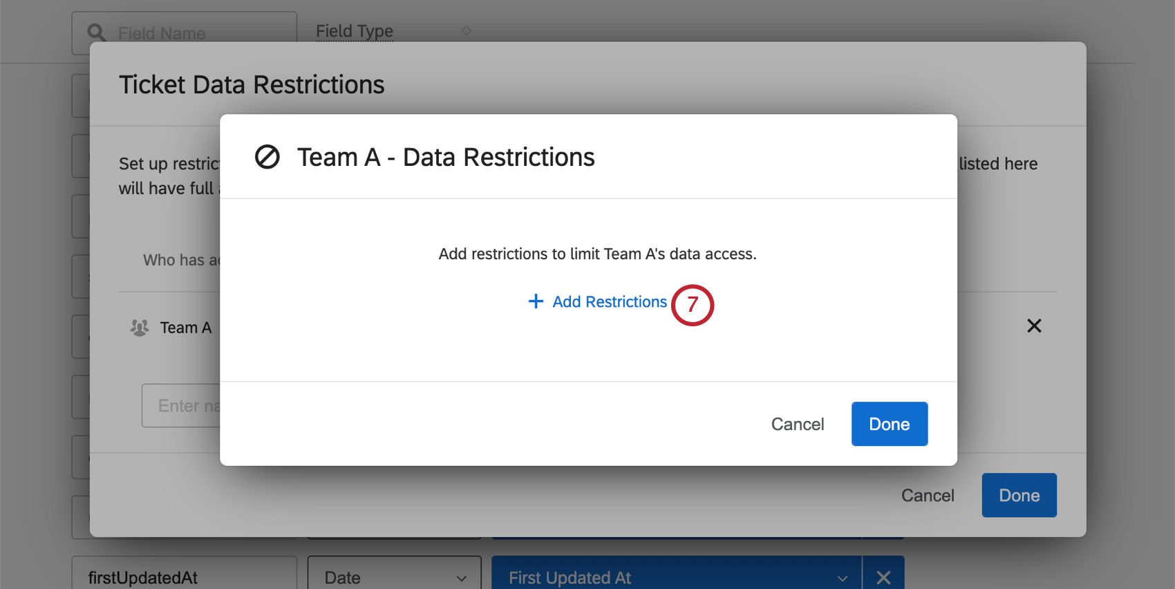 """Another new window opens. In the center is a button for """"add restrictions"""""""