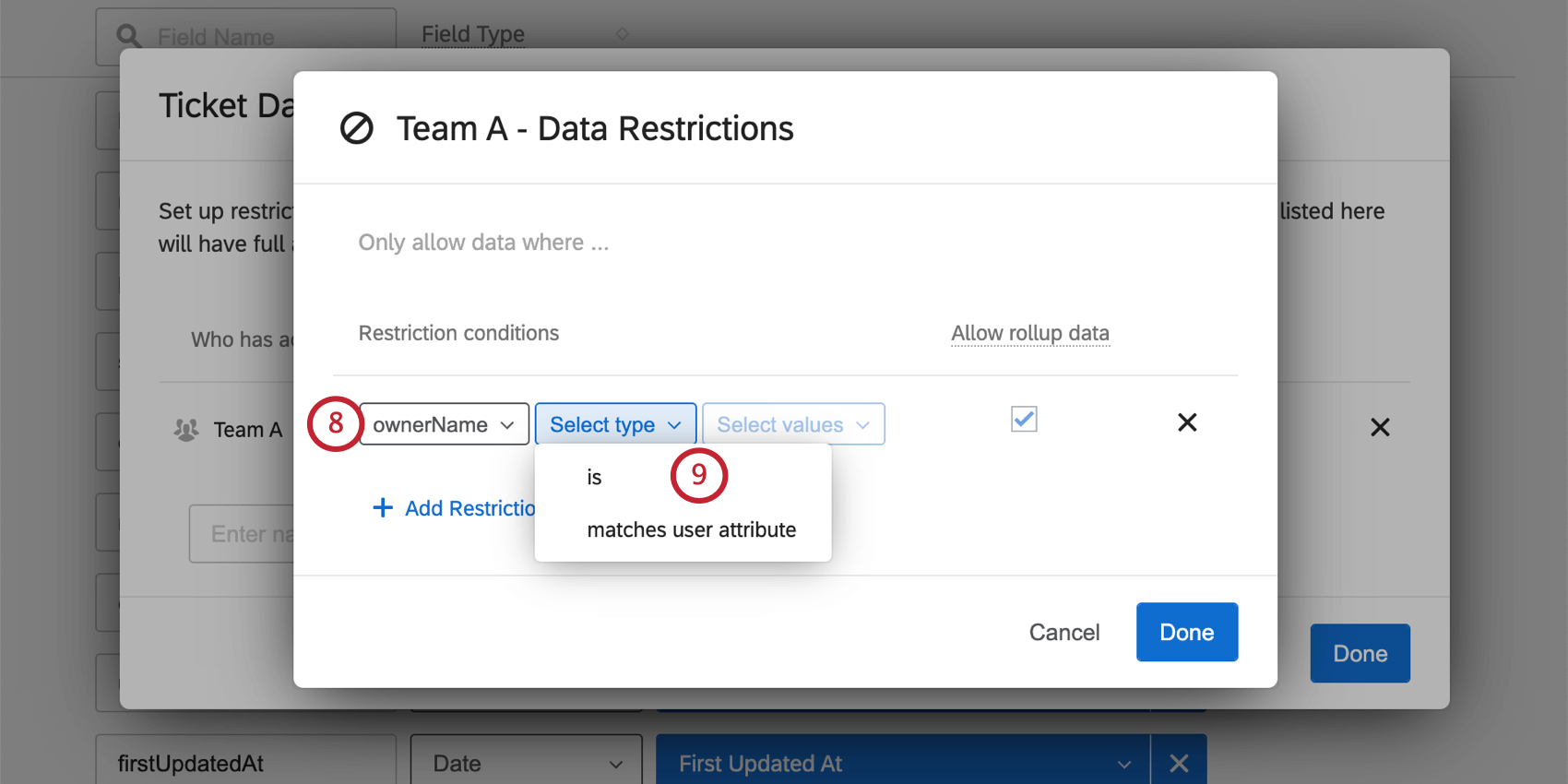 Selecting ticket data fields from the dropdowns