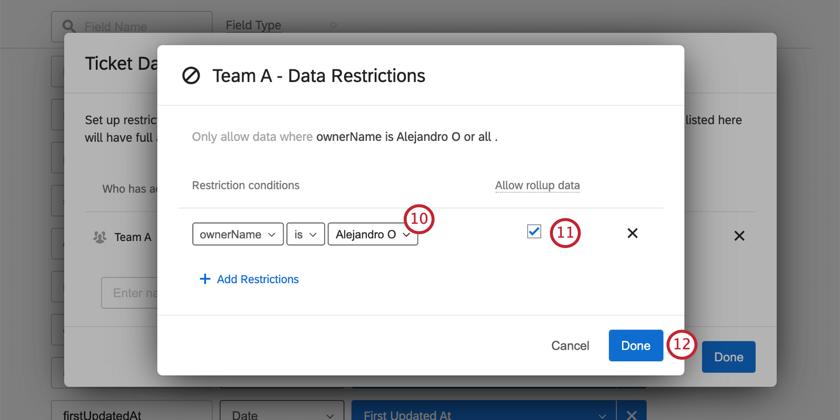 Allow rollup data is selected