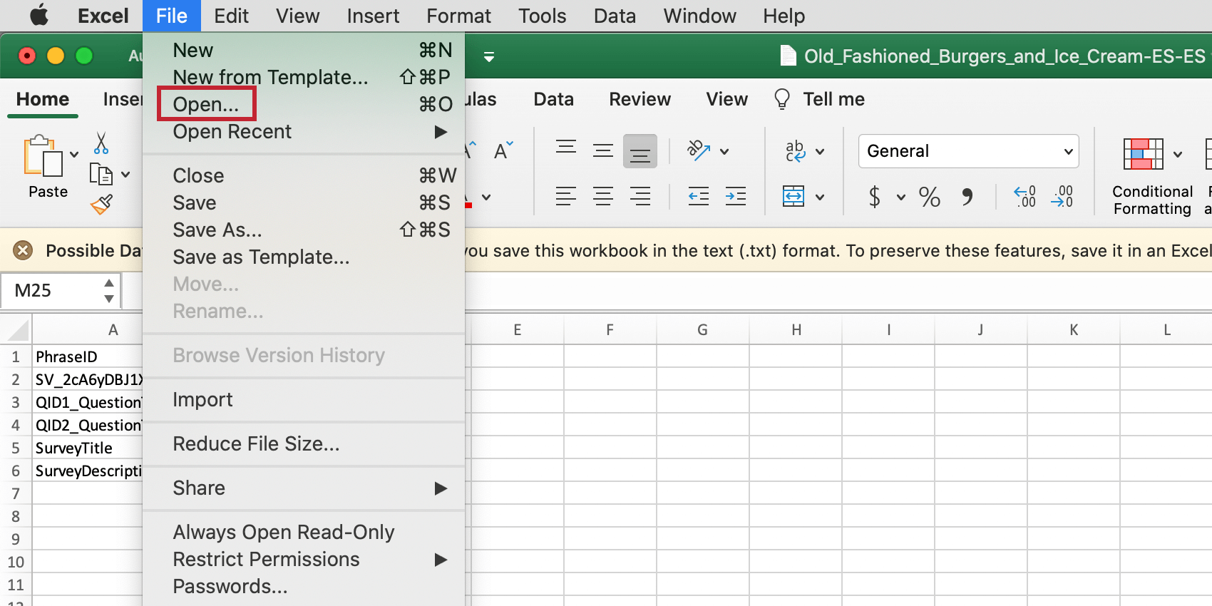 Going to File and Open on Excel