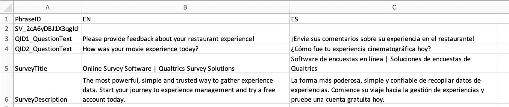 CSV of translation file