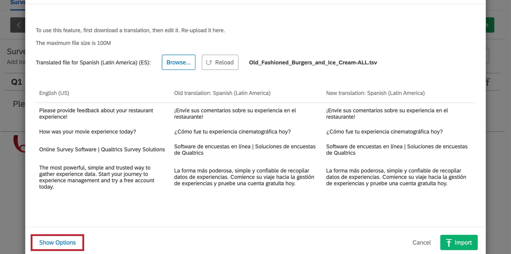 Show Options blue link lower-left of upload window