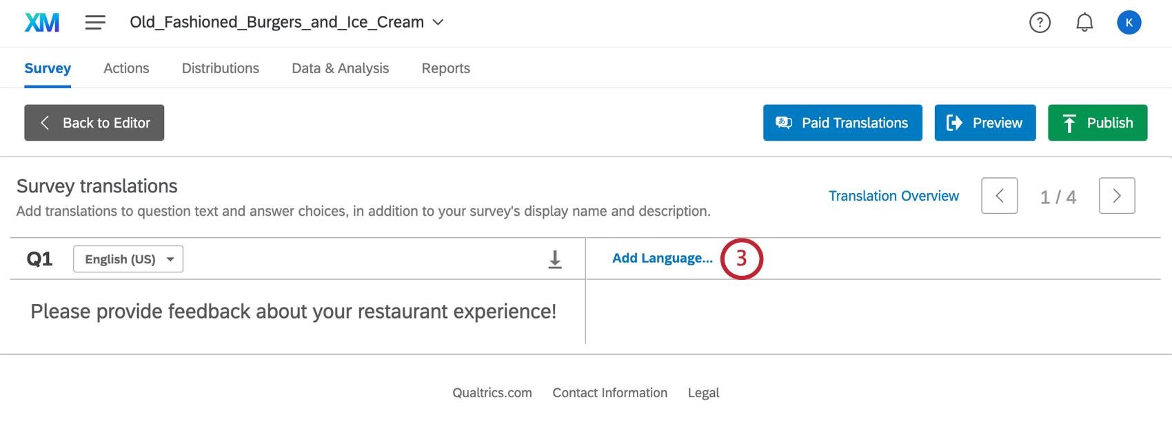 Add Language button