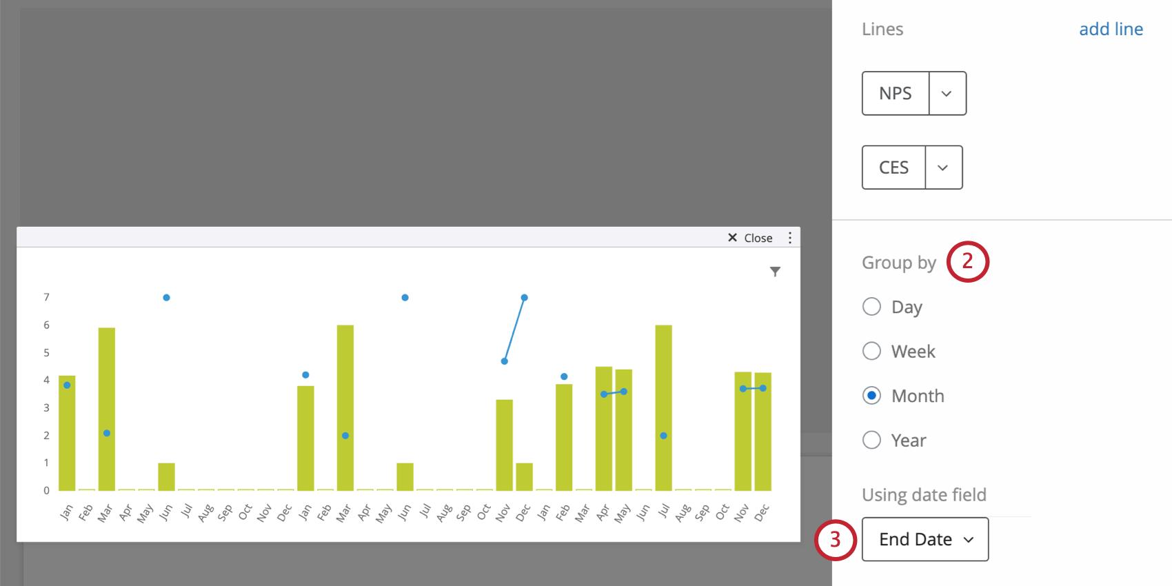 Groupings in widget editing pane, then dropdown for choosing date field