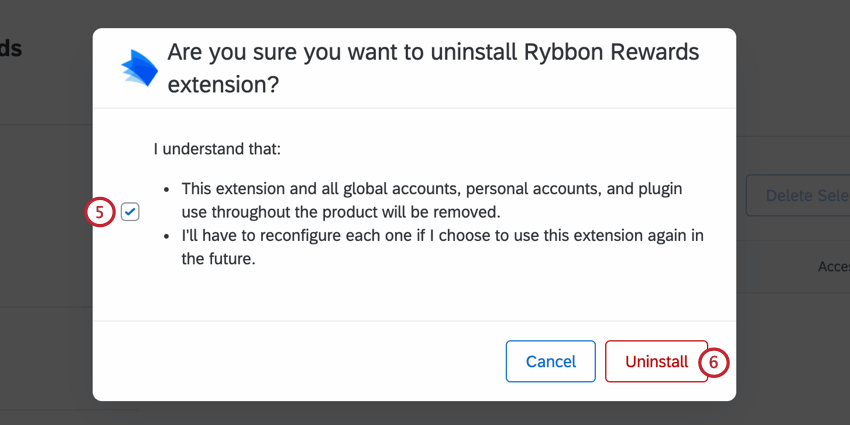 the confirmation window for uninstalling an extension