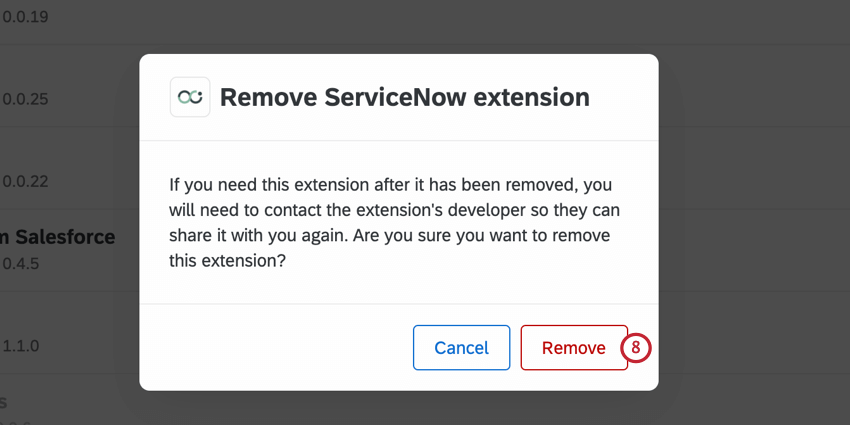 clicking remove on an extension