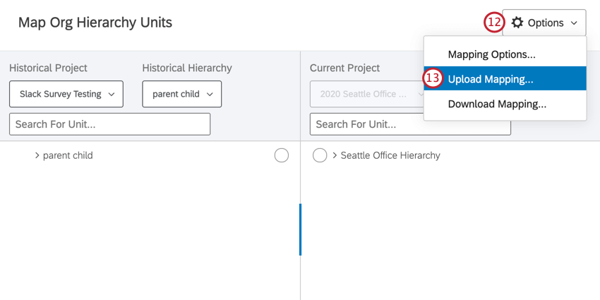 clicking options and then upload mapping in the map org hierarchy units window