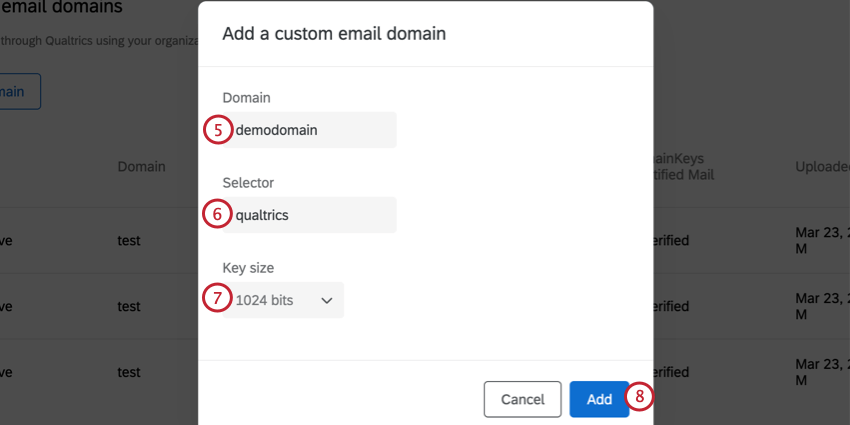 setting up a custom domain but adding the domain, selector, and choosing a key size