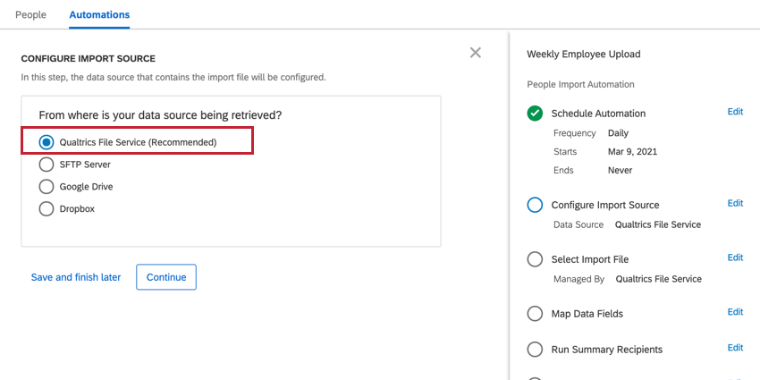 choosing the qualtrics file service option