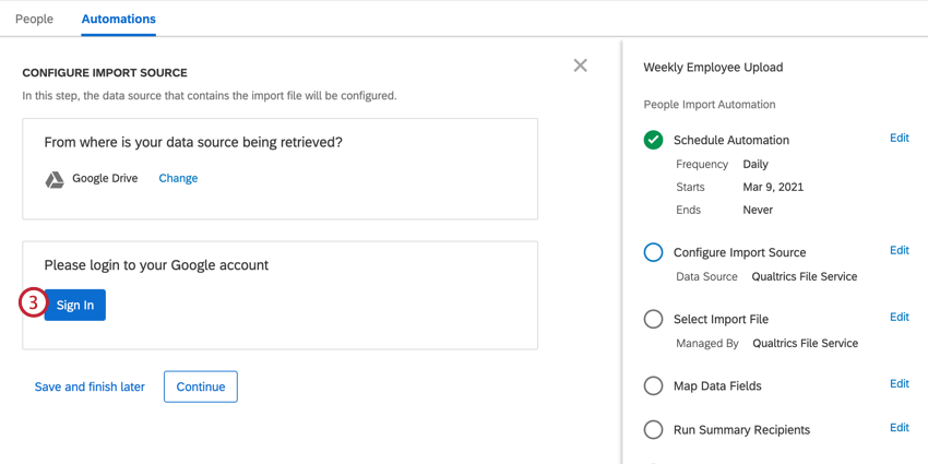 clicking sign in to sign into our data source