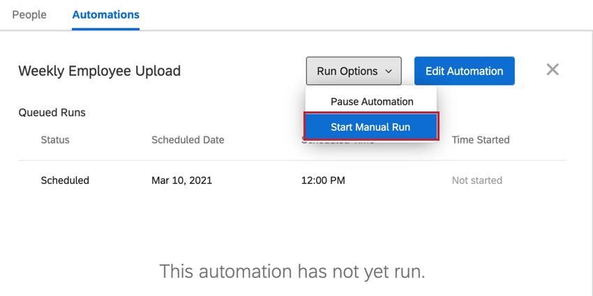 the start manual run option in run options