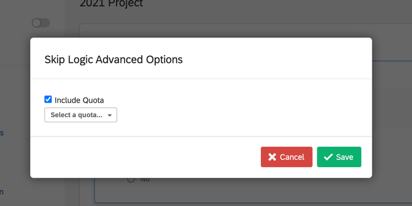 the advanced skip logic window showing the include quota checkbox