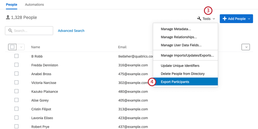 in the employee directory, clicking Tools and then selecting export participants