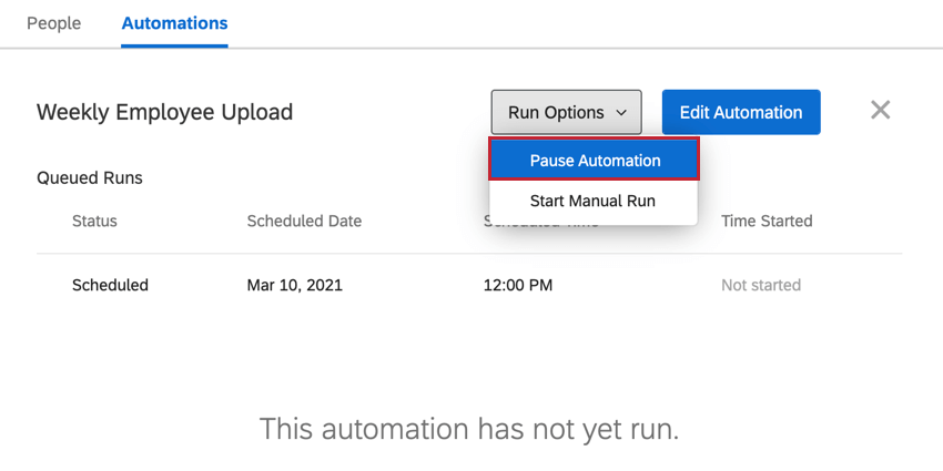 the pause automation option in run options