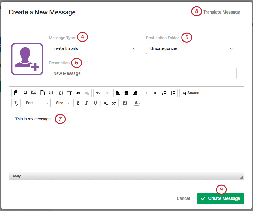 Create a New Message Menu with various options and a text box to enter message