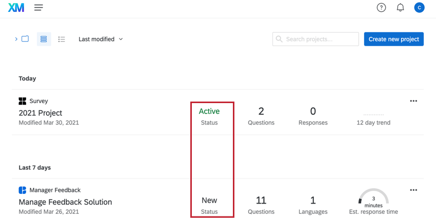 the projects page. the status column for projects is highlighted