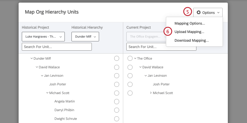Click options and then select upload mapping