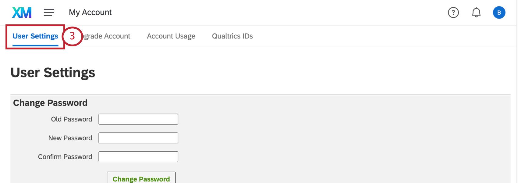 User Settings tab
