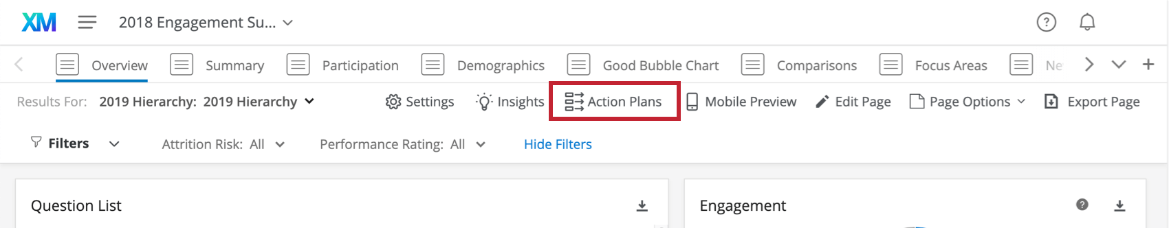 Action plans button in upper-right of a dashboard