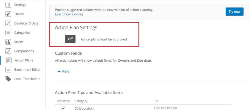 Top of action plans settings page with header of same name