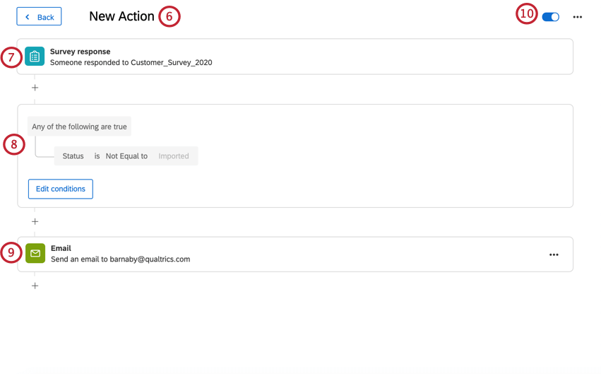 creating a new action. there is a survey response event with a condition, and a follow up email task. the action is enabled on