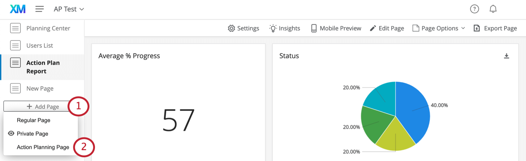 Adding an action planning page on the left side of the dashboard