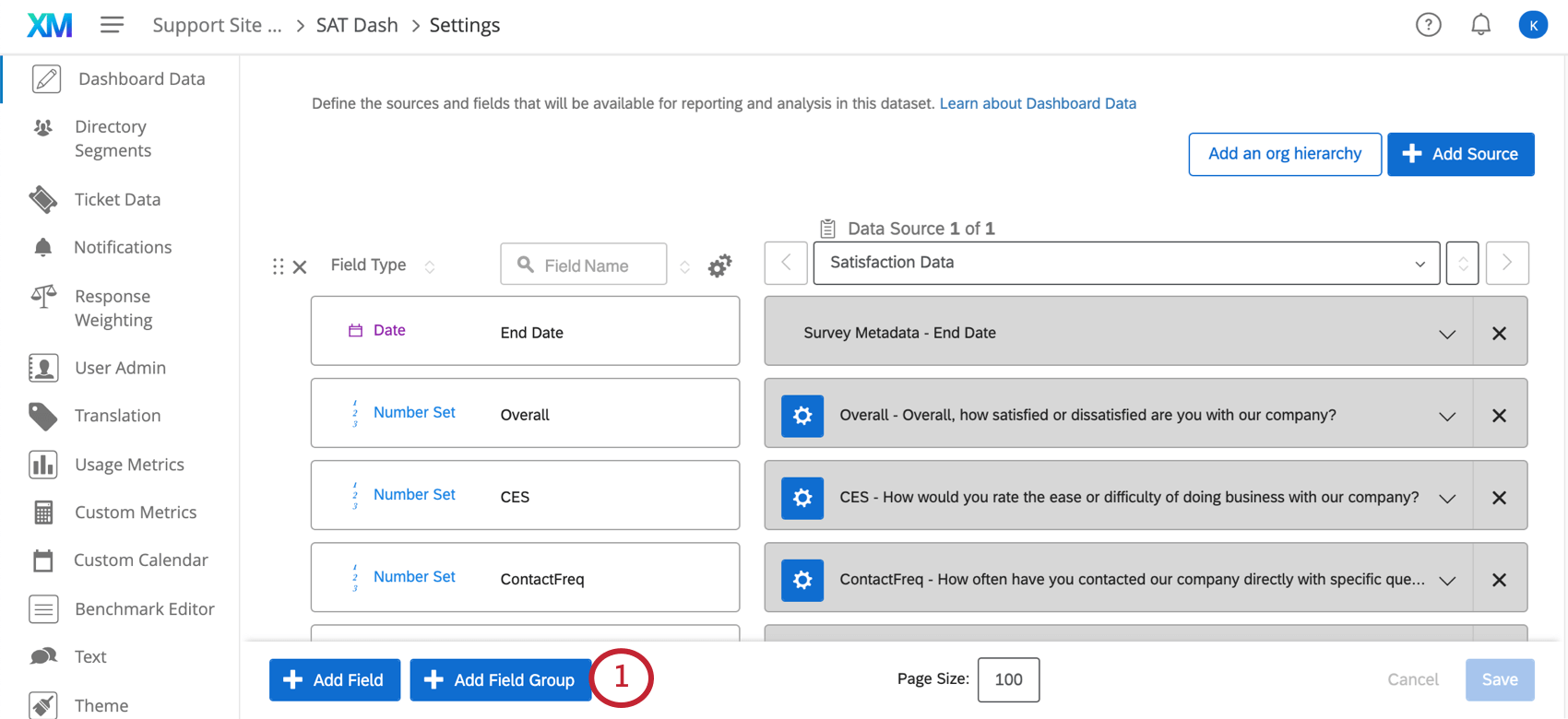 Add Field Group button in blue, very bottom left of dashboard data tab in dashboard settings (first page when you enter settings)