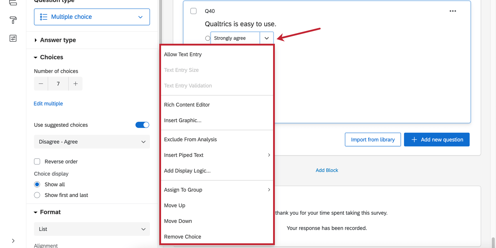 The dropdown arrow next to a choice being edited expands into a menu