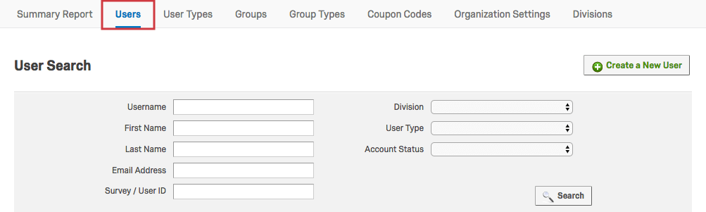 Users Tab within the Admin Page