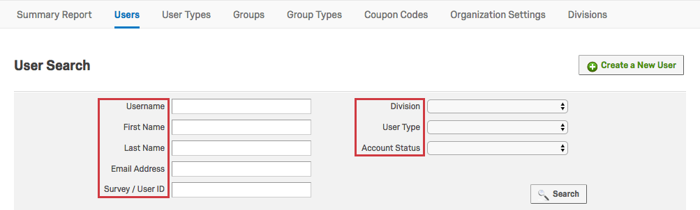 Various search options in the User Search section including Username and Last Name