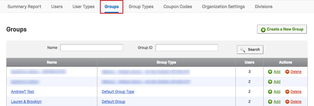 Groups Tab within the Admin page