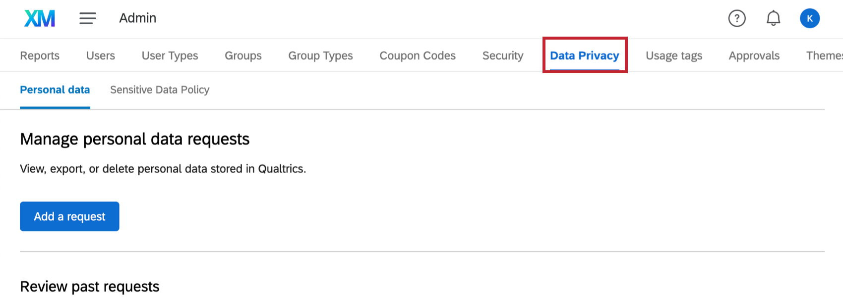 Data privacy tab is selected