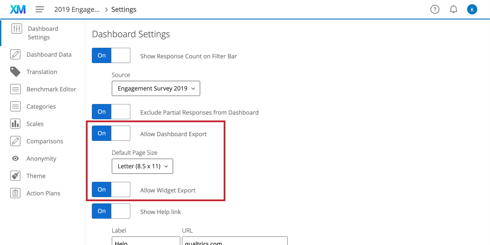 Allow Dashboard Export and Allow Widget Export on the settings section of the settings page