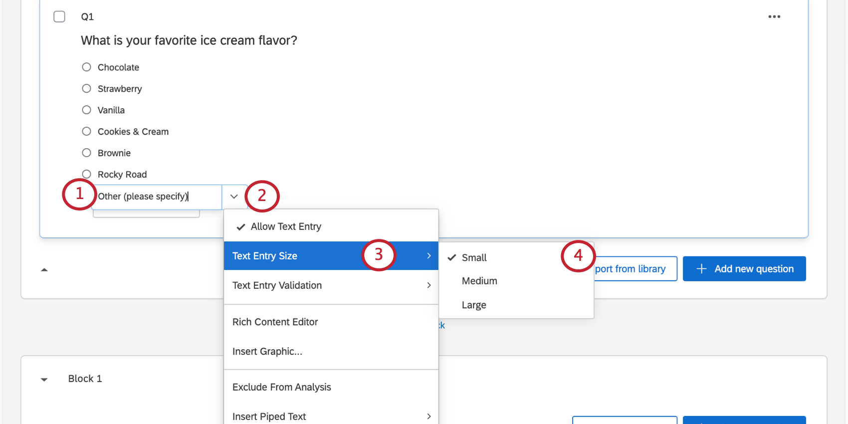 selecting the text entry size