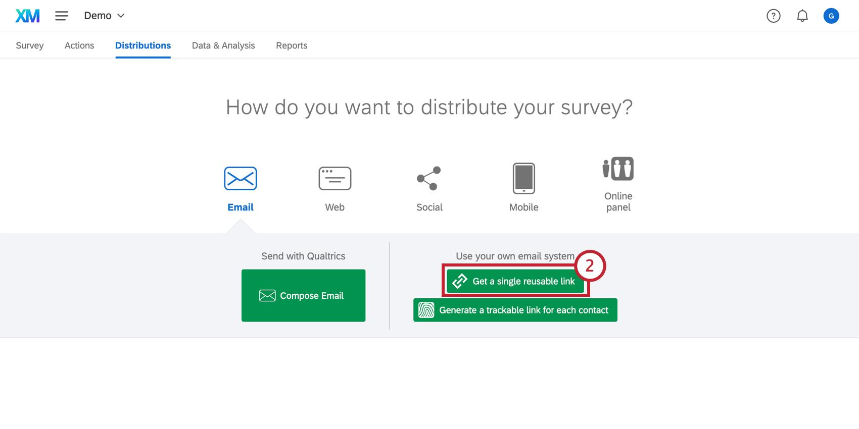 Clicking the green Get a single reusable link button