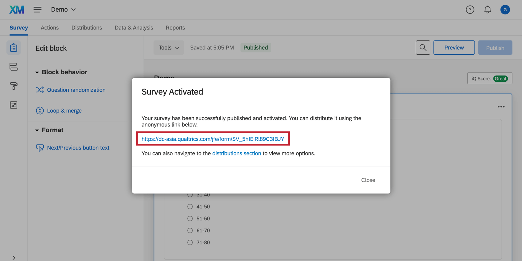 Publishing a survey and being presented with the anonymous link