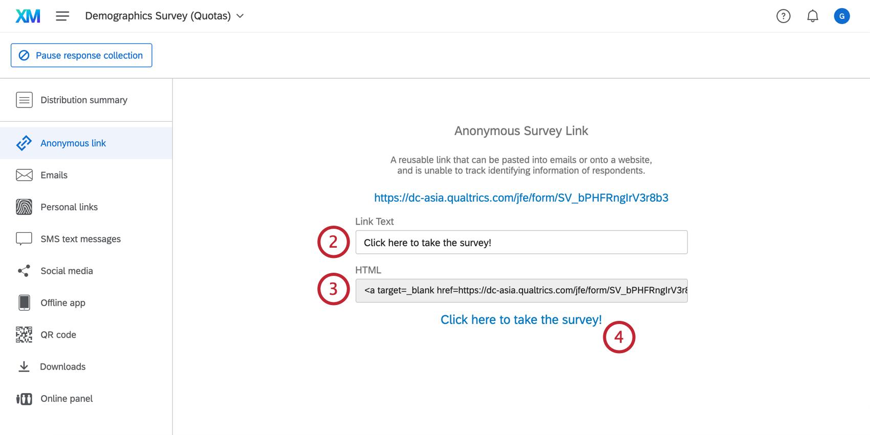Customizing the link text