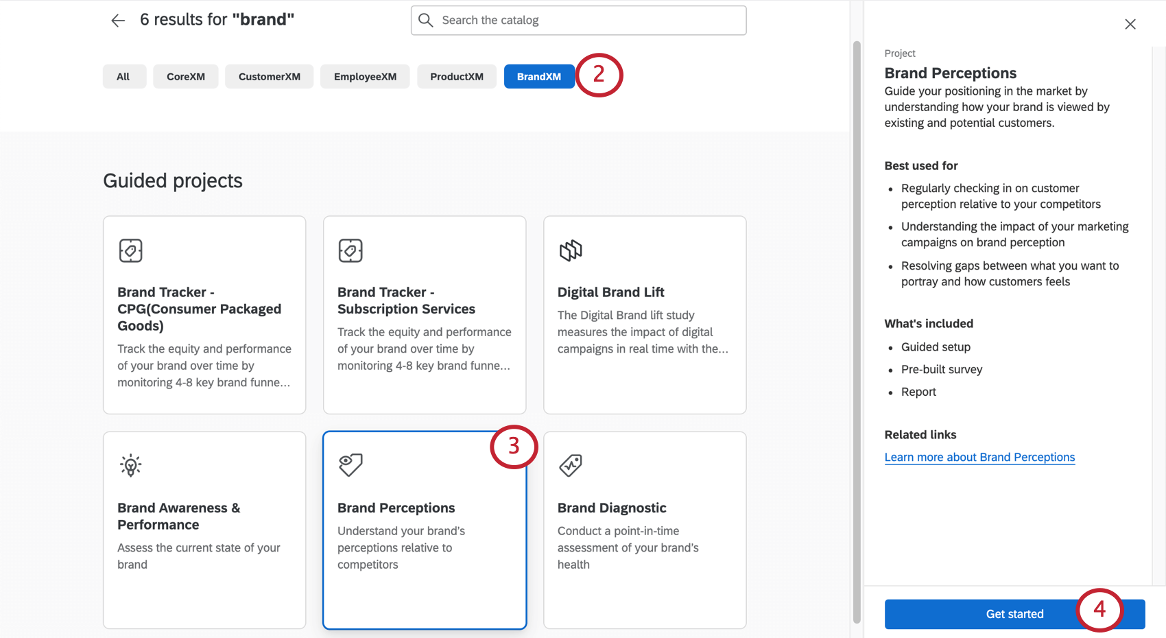 Brand selected along the top, several brand project tiles listed, when one is clicked a menu with more info appears to the right