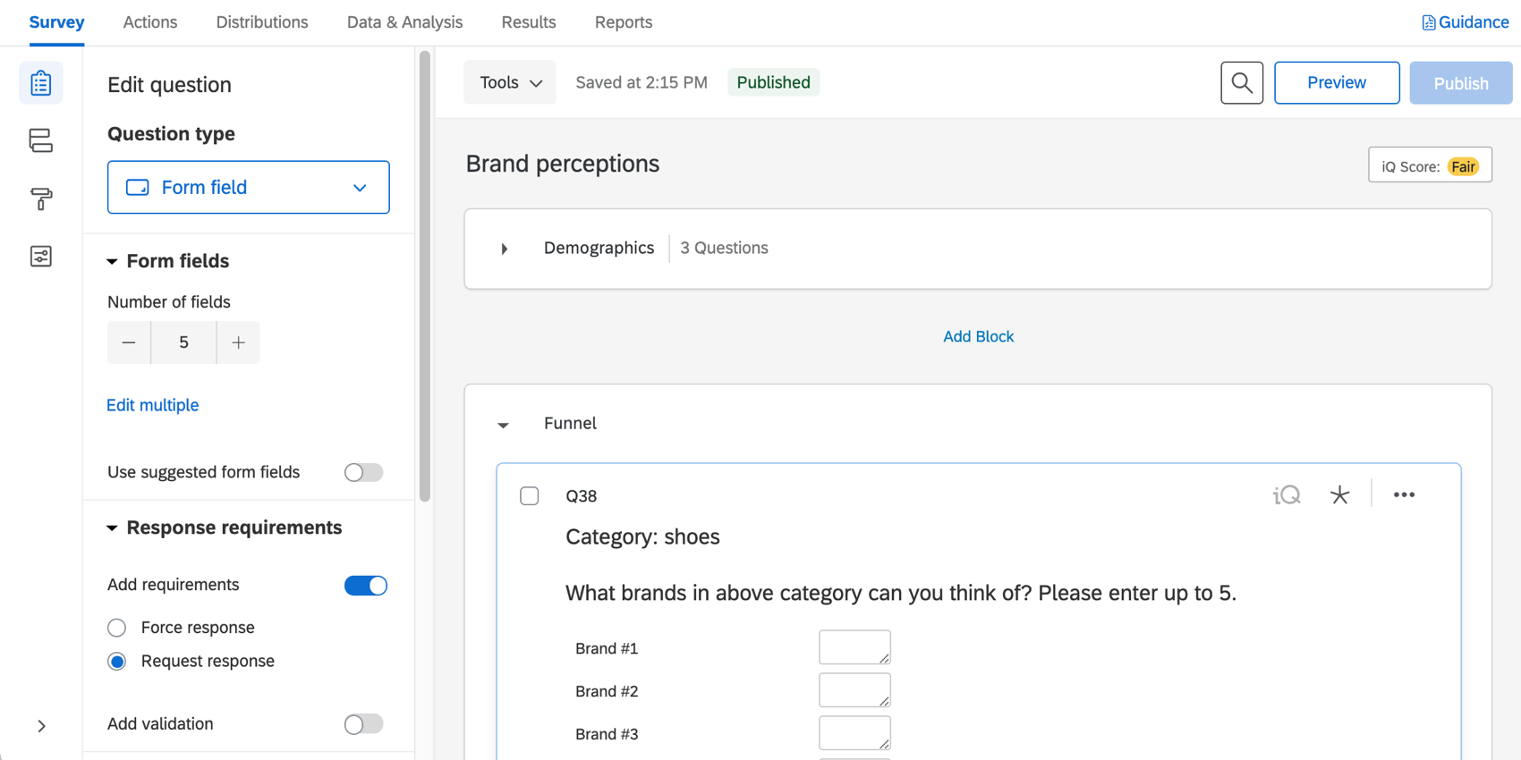 the survey tab for a bx project