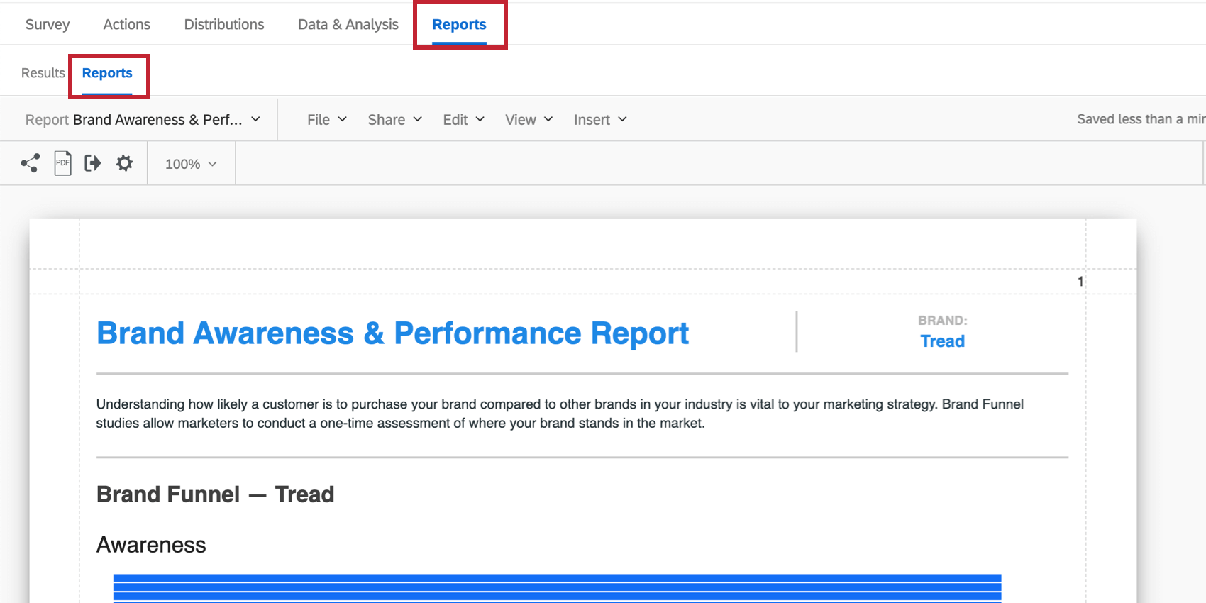 the reports tab in a bx project