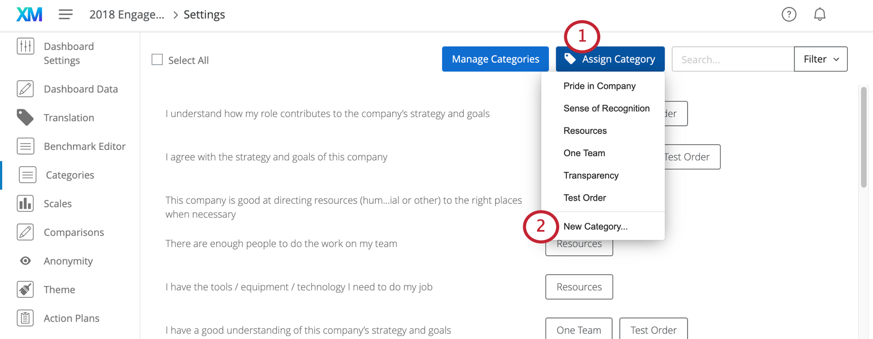 image of the assign category button