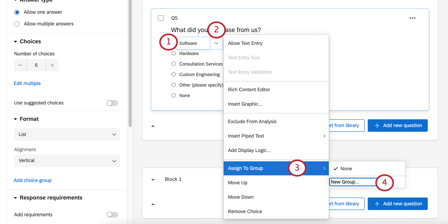 Opening a series of menus from the blue dropdown