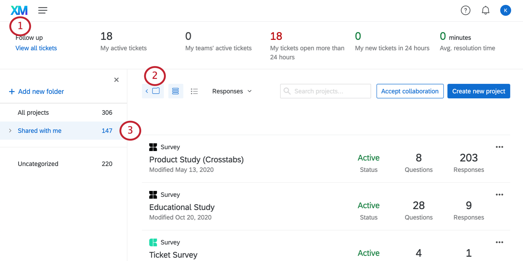 Qualtrics Projects page inside the folder called Shared with Me in the lefthand folders pane