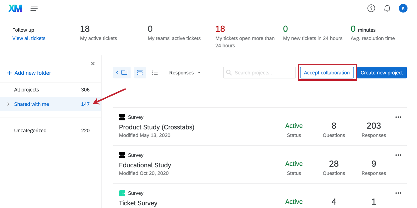 Blue Accept collaboration button next to the Create Project button on the right